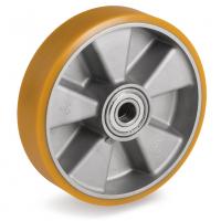 Колесо Tellure Rota 651106 под ось, диаметр 200 мм, грузоподъемность 850кг, полиуретан TR / алюминий, шариковый подшипник в комплекте