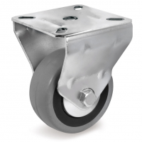 Колесо аппаратное Tellure Rota 375104 неповоротное, диаметр 100мм, грузоподъемность 55кг, серая резина, полипропилен