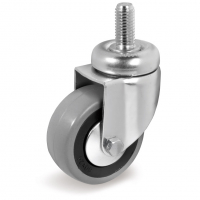 Колесо аппаратное Tellure Rota 376101 поворотное, диаметр 50мм, грузоподъемность 35кг, серая резина, полипропилен, штырь с резьбой M8