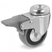 Колесо аппаратное Tellure Rota 377102 поворотное с тормозом, диаметр 60мм, грузоподъемность 50кг, серая резина, полипропилен