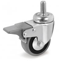 Колесо аппаратное Tellure Rota 379103 поворотное с тормозом, диаметр 80мм, грузоподъемность 55кг, серая резина, полипропилен, штырь с резьбой M12