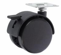 Колесо 50 мм тормоз черн. пластик