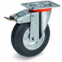 Колесо Tellure Rota 535422 поворотное тормозом, диаметр 100мм, грузоподъемность 80кг, черная резина, сталь