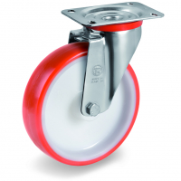 Колесо Tellure Rota 604202 поворотное, диаметр 100мм, грузоподъемность 170кг, термопластичный полиуретан, полиамид