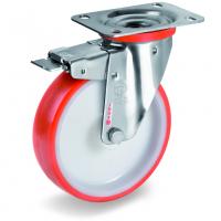 Колесо Tellure Rota 606701 поворотное с тормозом, диаметр 80мм, грузоподъемность 120кг, термопластичный полиуретан, полиамид, кронштейн из нержавеющей стали