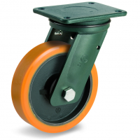 Колесо большегрузное Tellure Rota 648327 поворотное, диаметр 250мм, грузоподъемность 1900кг, полиуретан TR, чугун, сверхпрочный кронштейн EEHD
