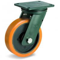 Колесо большегрузное Tellure Rota 648338 поворотное, диаметр 300мм, грузоподъемность 2300кг, полиуретан TR, чугун, сверхпрочный кронштейн EEHD