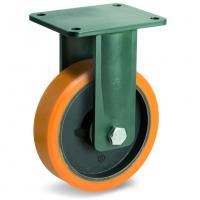 Колесо большегрузное Tellure Rota 648416 неповоротное, диаметр 200мм, грузоподъемность 1600кг, полиуретан TR, чугун, сверхпрочный кронштейн EEHD