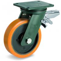 Колесо большегрузное Tellure Rota 648516 поворотное с задним тормозом, диаметр 200мм, грузоподъемность 1600кг, полиуретан TR, чугун, сверхпрочный кронштейн EEHD