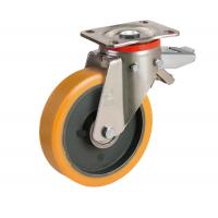 Колесо большегрузное Tellure Rota 649906 поворотное с задним тормозом, диаметр 200 мм, грузоподъемность 900кг, полиуретан TR / чугун