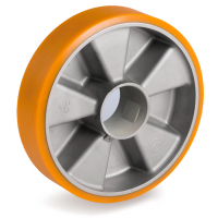 Колесо Tellure Rota 653106 под ось, диаметр 200мм, грузоподъемность 850кг, полиуретан TR, алюминий, шариковый подшипник в комплект не входит