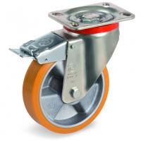 Колесо Tellure Rota 656603 большегрузное поворотное с тормозом, диаметр 125мм, грузоподъемность 350кг, полиуретан TR, алюминий