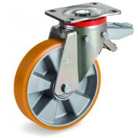Колесо Tellure Rota 656604 большегрузное поворотное с задним тормозом, диаметр 150мм, грузоподъемность 600кг, полиуретан TR, алюминий