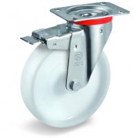 Колесо Tellure Rota 686801 поворотное с тормозом, диаметр 80мм, грузоподъемность 180кг, полиамид
