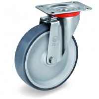 Колесо Tellure Rota 714201 поворотное, диаметр 80мм, грузоподъемность 70кг, термопластичная серая резина, полипропилен