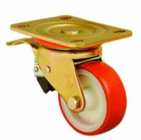 Колесо EMES ED01 ZBP 125 F полиуретановое поворотное с торм. (D125) 300 кг