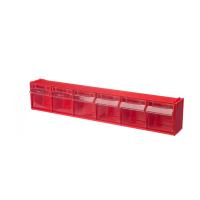 Короб откидной Стелла-техник F-600-6 , 600х96х112мм, 6 ячеек, красный, прозрачный