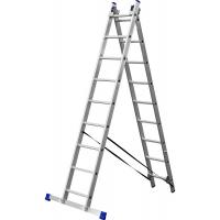 Лестница ЗУБР универсальная, двухсекционная со стабилизатором, 9 ступеней