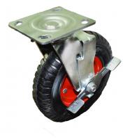 PRSb 200 Колесо поворотное с тормозом рефленая литая резина (D200)