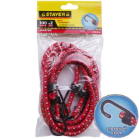 Шнур STAYER MASTER резиновый крепежный со стальными крюками, 100 см, d 7 мм, 2 шт