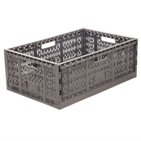 Ящик п/э складной 600*400*220 перфорированный темно-серый арт.F6422, серый