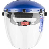 Защитный лицевой щиток СИБИН сферический ударопрочный экран 200х400мм из поликарботана 2мм устойчивого к истираниям и царапинам, с храповиком