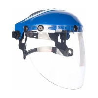 Защитный лицевой щиток СИБИН сферический ударопрочный экран 200х400мм из поликарботана 2мм устойчивого к истираниям и царапинам, с рейкой