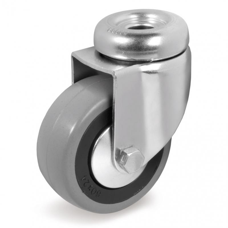 Колесо аппаратное Tellure Rota 373104 поворотное, диаметр 100мм, грузоподъемность 55кг, серая резина, полипропилен