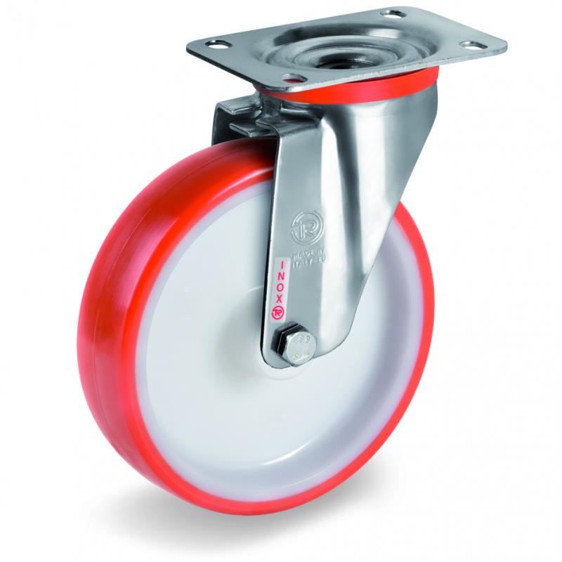 Колесо Tellure Rota 604401 поворотное, диаметр 80мм, грузоподъемность 120кг, термопластичный полиуретан, полиамид, кронштейн из нержавеющей стали