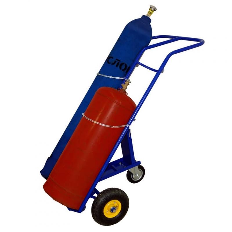 Тележка для кислородного и пропанового баллонов КП2 с пневмо колесами d 250 мм