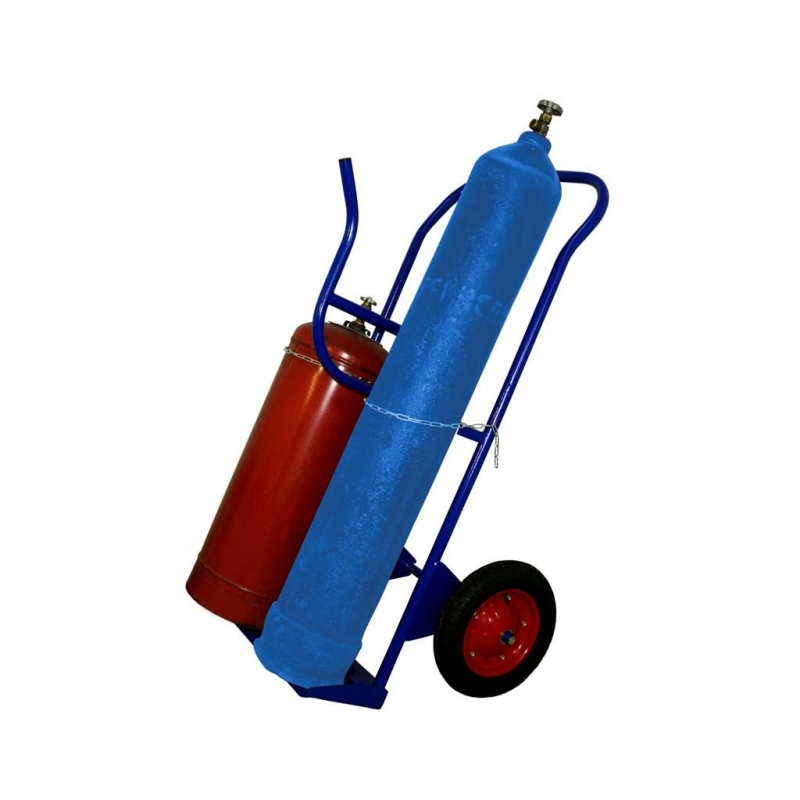 Тележка для кислородного и пропанового баллонов КП2-У с пневмо колесами d 350 мм