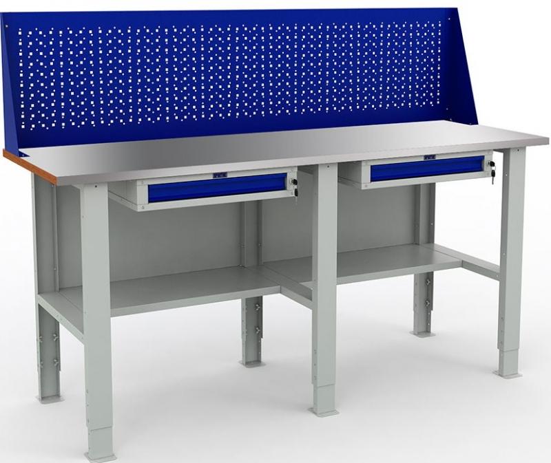 Верстак металлический EXPERT WTS200 с двумя ящиками и экраном