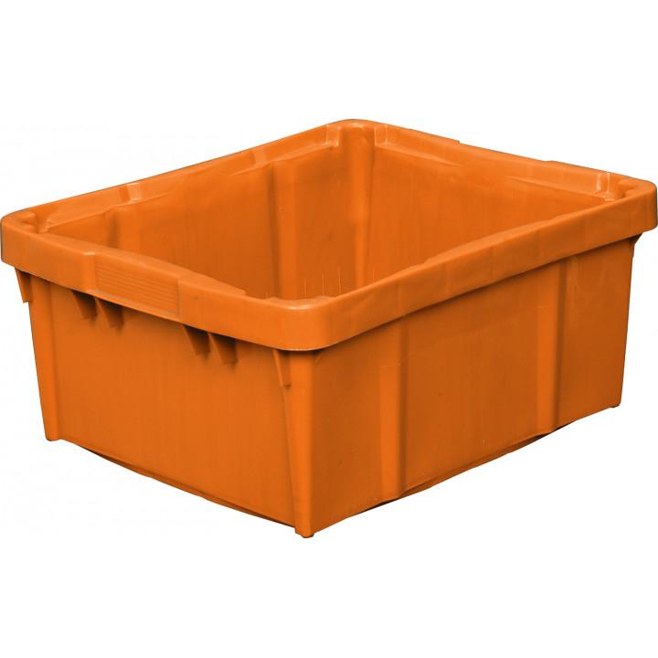 Ящик молочный Tetra-Brick 304 сплошной, дно перфорированное 480х393х220 оранжевый